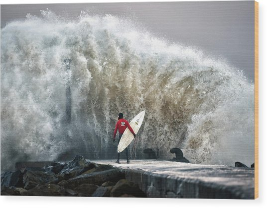 A Pro-surfer Waits For A Break In The Wood Print by Charles Mcquillan