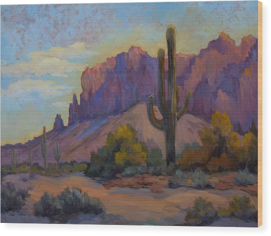 A Proud Saguaro At Superstition Mountain Wood Print