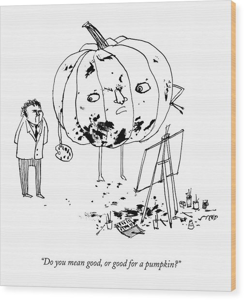 A Pumpkin With A Face And Legs Holds A Paintbrush Wood Print