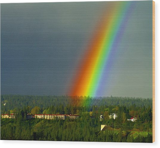 A Rainbow Blessing Spokane Wood Print