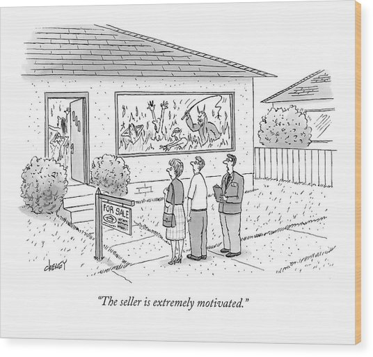 A Realtor Speaks To A Couple About A House Wood Print