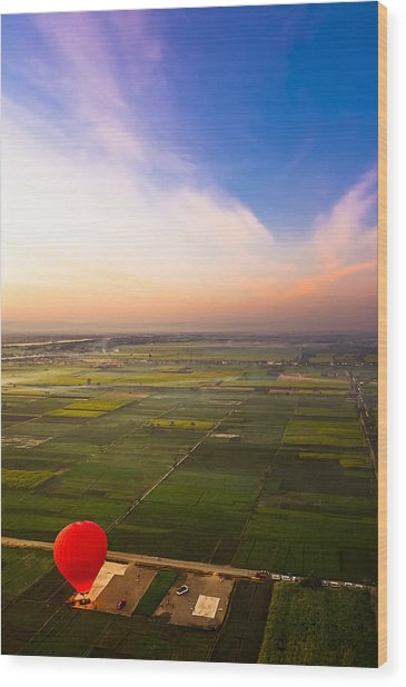 A Red Hot Air Balloon Landing In Egyptian Fields Wood Print by Mark E Tisdale
