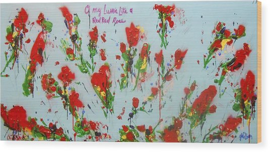 A Red Red Rose Wood Print