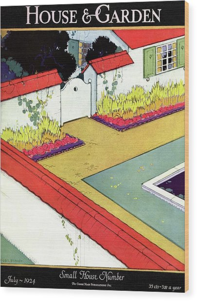 A Reflecting Pool And Garden Wood Print