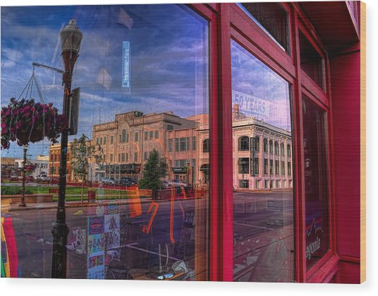 A Reflection Of Wausau's Grand Theater Wood Print