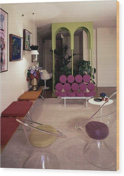 A Retro Living Room Wood Print