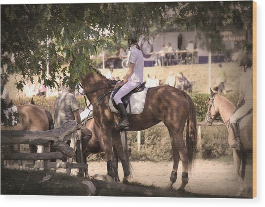 A Rider On A Horse Wood Print