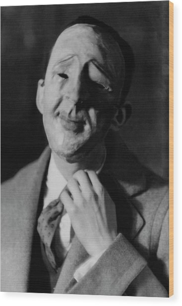 A Robert C. Benchley Mask Wood Print