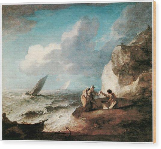 A Rocky Coastal Scene Wood Print by Thomas Gainsborough