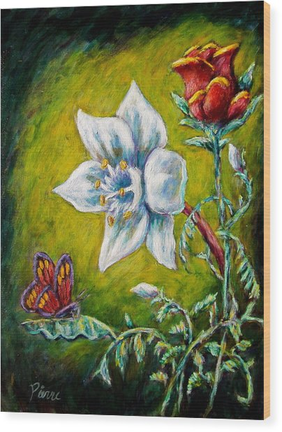 A Rose A Lily And A Butterfly Wood Print
