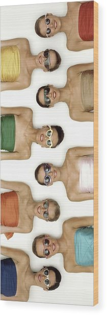 A Row Of Models In Strapless Tops And Sunglasses Wood Print