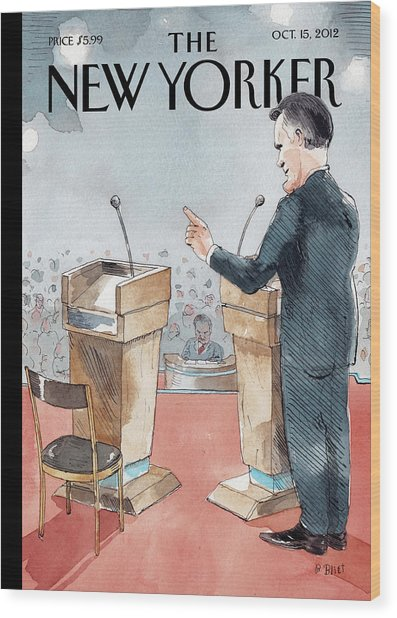 A Scene From The Presidential Debate Wood Print by Barry Blitt