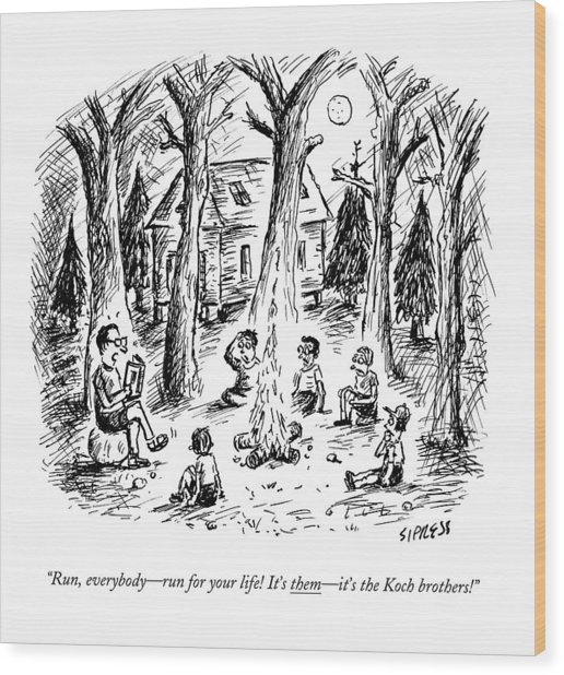 A Scout Leader Tells A Group Of Young Campers Wood Print