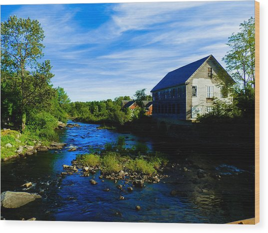 A Sebec View Wood Print by Heather Sylvia