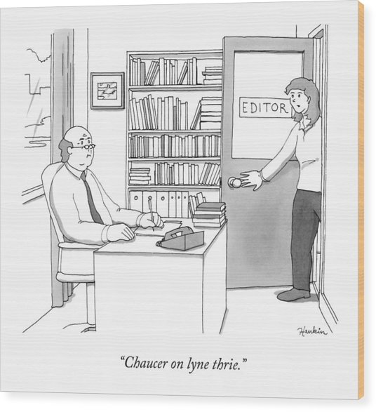 A Secretary Informs An Editor Wood Print