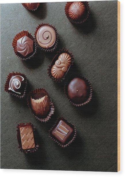 A Selection Of Chocolates Wood Print