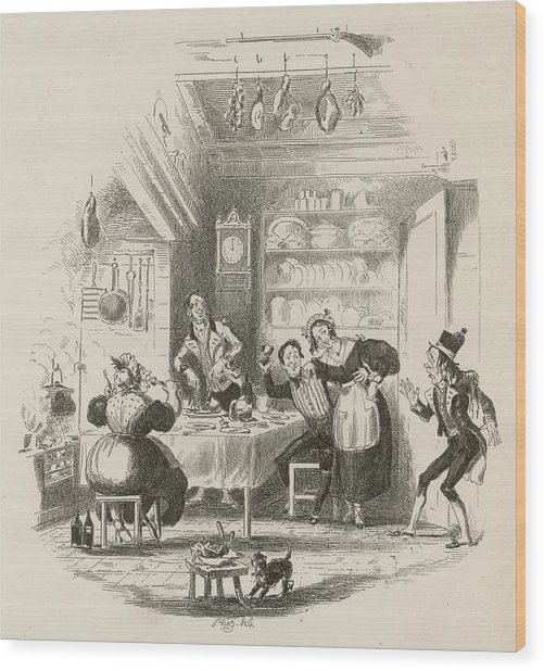 A Servants' Hall At The  Beginning Wood Print by Mary Evans Picture Library