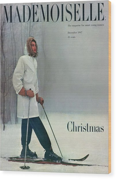 A Skier In A White Stag Parker Wood Print