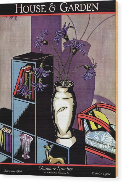 A Skyscraper Style Bookcase With A Vase Wood Print
