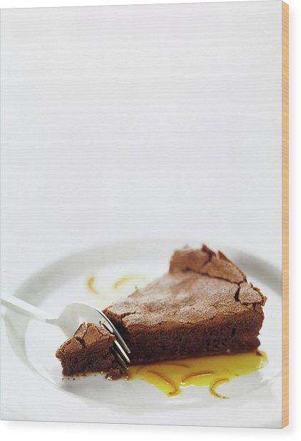 A Slice Of Chocolate Cake Wood Print