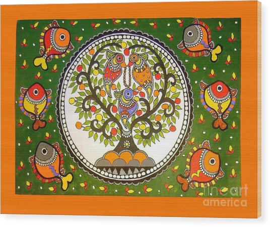 A Small Island-madhubani Painting Wood Print
