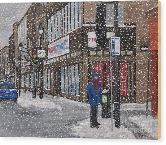 A Snowy Day On Wellington Wood Print