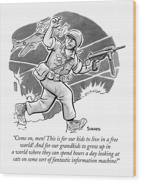 A Soldier Holding A Gun Runs Through Battle Wood Print