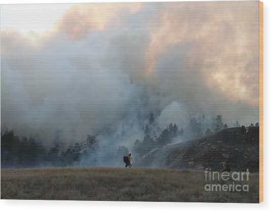 A Solitary Firefighter On The White Draw Fire Wood Print