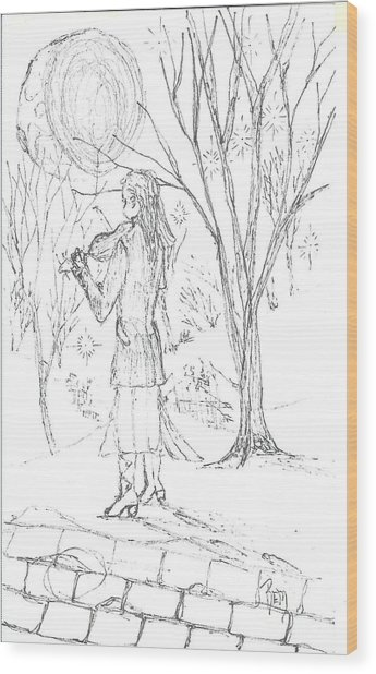 A Song For The Night - Sketch Wood Print by Robert Meszaros