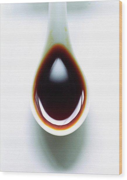 A Spoon Of Tamari Sauce Wood Print