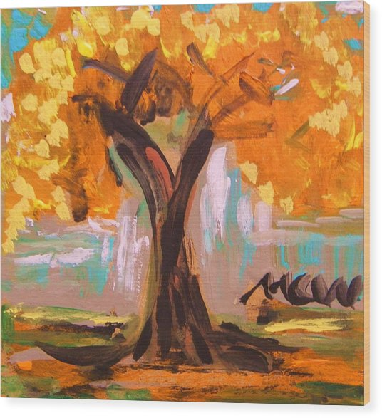 A Standout Tree Wood Print by Mary Carol Williams