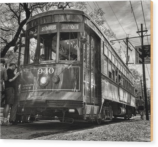 A Streetcar Named St Charles Wood Print