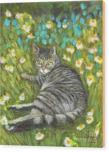 A Striped Cat On Floral Carpet Wood Print