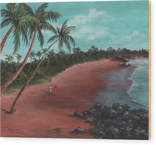 A Stroll On A Tropical Beach Wood Print