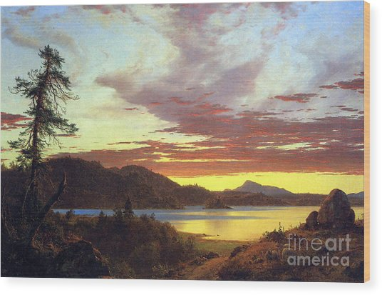 A Sunset By Frederick Edwin Church Wood Print