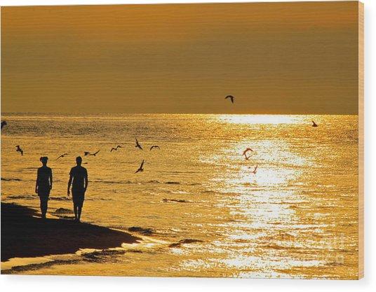 A Sunset Walk Wood Print