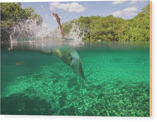 A Swimmer Diving Into The Water Wood Print