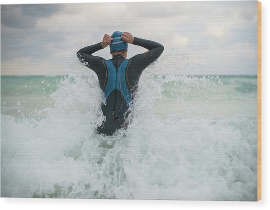 A Swimmer Getting Into The Ocean Wood Print