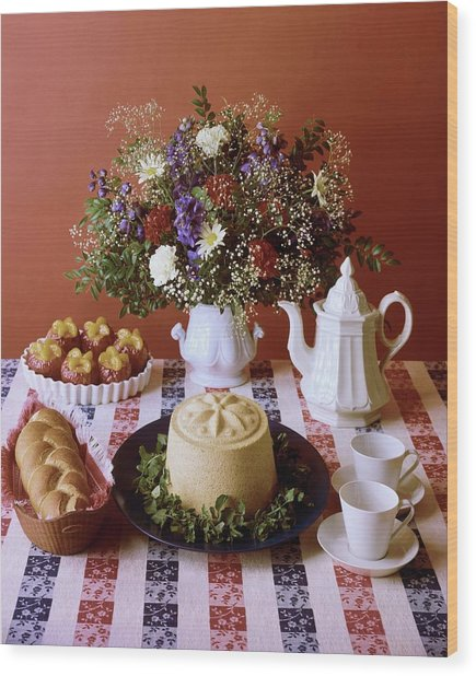 A Table Of Pastries Wood Print