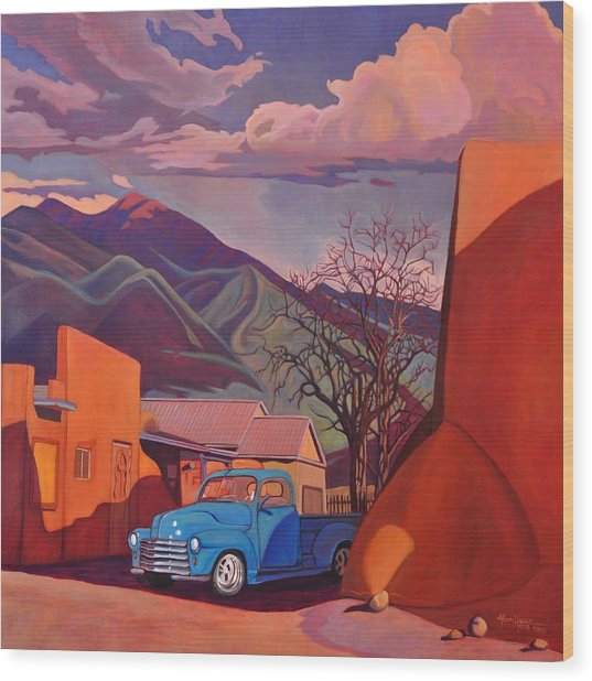 A Teal Truck In Taos Wood Print