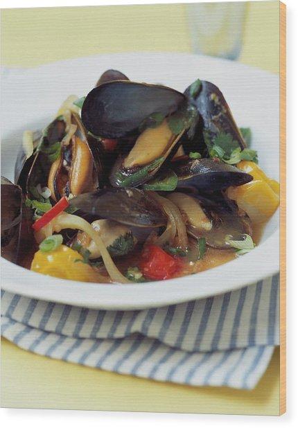 A Thai Dish Of Mussels And Papaya Wood Print