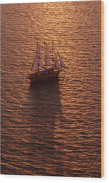 A Three-masted Sailing Ship With Full Wood Print by Mint Images - Art Wolfe