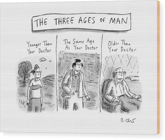A Three Panel Images That Have Three Men: Wood Print