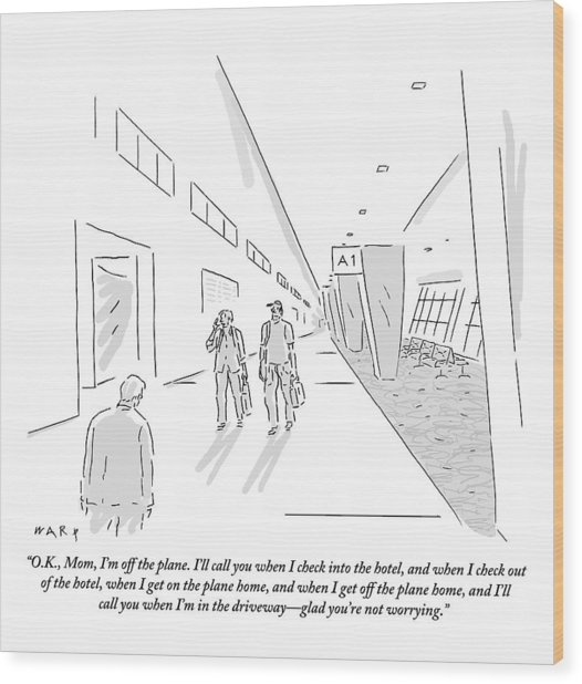 A Traveler Walking Through The Airport Speaks Wood Print by Kim Warp