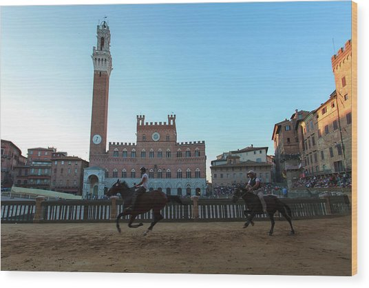 A Trial Run Of The Famous Palio Di Siena Wood Print