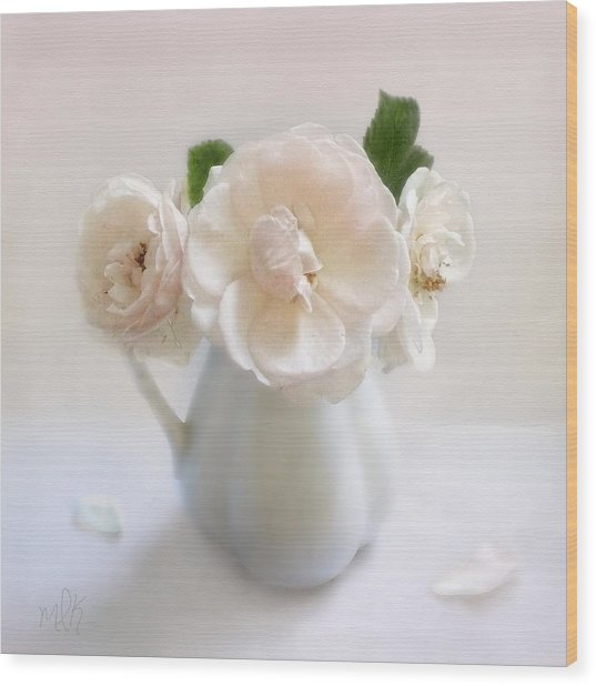 A Trio Of Pale Pink Vintage Roses Wood Print