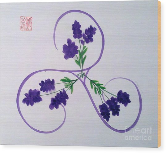 A Triskele Of Lavender Wood Print
