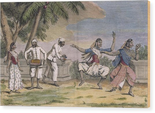 A Troupe Of Bayaderes, Or Indian Wood Print