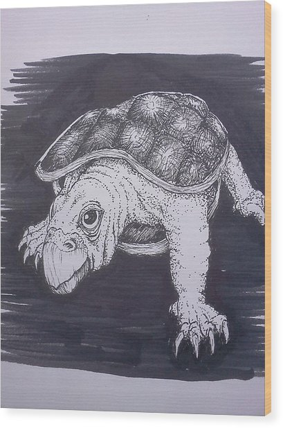 A Turtle Named Puppy Wood Print