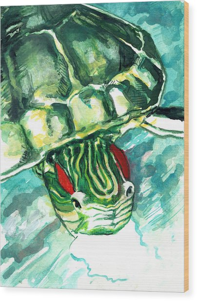Wood Print featuring the painting A Turtle Who Likes To Eat Fish by Rene Capone
